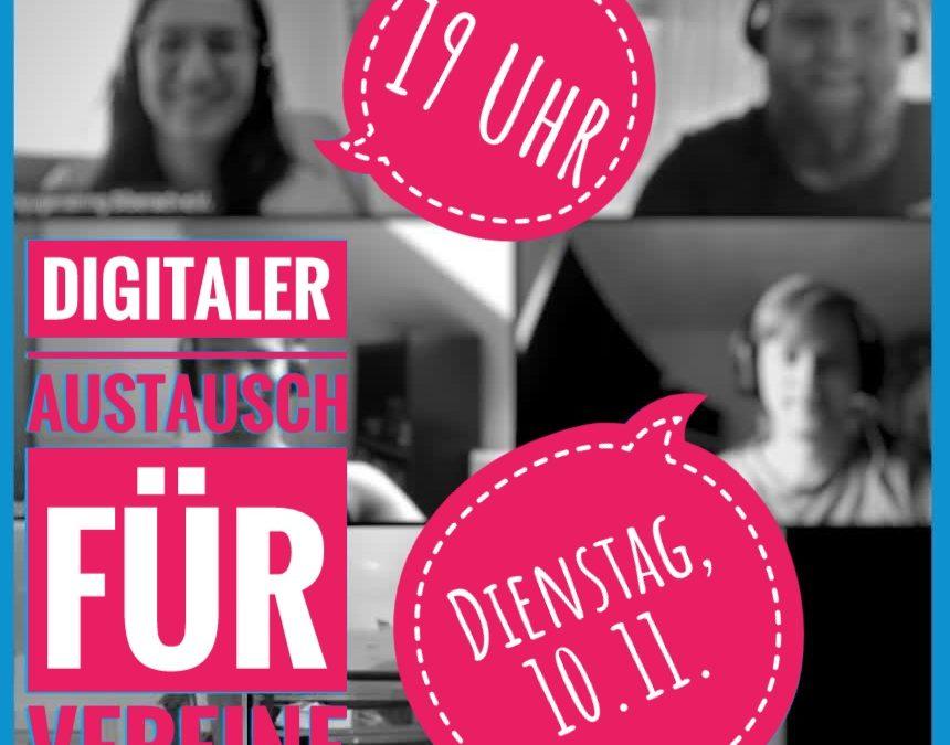 Digitaler Austausch für Vereine am 10.11., 19Uhr